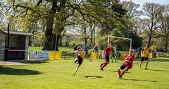 Holbrook St Michaels (nonleaguepap) Tags: holbrook st michaels saint green grass pitch red yellow black blue sky trees shorts shirts non league football derbyshire nottinghamshire saturday may 2018 central midlands groundhop hop footballers