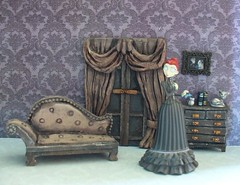 Miniature Corpse Bride furniture - Victoria's drawing room (redmermaidwerewolf) Tags: tim burton gothic mini miniature doll house dollhouse room box shadow display furniture cardboard craft handmade home made paper polymer clay air dry sculpted tiny figure the corpse bride victor victoria keychain selena kyle batman returns