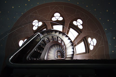 The stairs (cigno5!) Tags: stair staircase night sky pastel stars spiral steps light windows lines wood paint handrail 1740 darktable dark tower round schlossdrachenburg architecture window arch