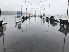 Rainy Reflections (mobilix) Tags: cornwall pier harbour sea rain uk reflections mirrored falmouth einsonce kw224441 gleichfarbig samecolour monochrom