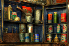 Old Oil and Stuff (arbyreed) Tags: arbyreed old vintage colorful oil oldoilcans stp motoroil lubrication enginelubrication slick cabinet metal cans hdr legends legendsmotorcycleemporium sidecarcafe motorcycles vintagemotorcycles indianmotorcycles