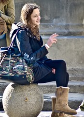 Camo bag (tonyhudson12526) Tags: smoking candid boots leather manicure cigarette street