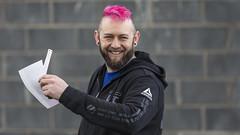 Fancy hairdo (Frank Fullard) Tags: frankfullard fullard candid street portrait red pink hair hairstyle hairdo smile castlebar mayo irish ireland