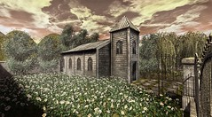 See you in church (Decorizing) Tags: chapel goose n4rs lb mesh tlc flowers gates daisies clouds sky park path willow shrub