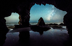 Malibu Beach Milky Way through a Sea Cave! The Epic Starry Night Seascape! Malibu Sea Caves! Pacific Ocean Astro Landscapes! Epic Landscape Photography: Elliot McGucken Fine Art Nature Astrophotography! (45SURF Hero's Odyssey Mythology Landscapes & Godde) Tags: the epic seascape malibu sea caves ocean landscapes landscape photography elliot mcgucken fine art nature beach milky way through cave starry night pacific astro astrophotography