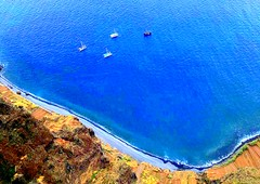 Madeira, Porugal. View from the Highest Skywalk - 580 meter - in Europe and the second highest in the world (dimaruss34) Tags: newyork brooklyn dmitriyfomenko image portugal madeira svetlanafomenko skywalk highestskywalkineurope miradourodocabogirao ocean shore boats