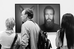 Eyes and Ears.... (markwilkins64) Tags: london thestrand somersethouse uk sonyworldphotographyawards blackandwhite mono monochrome bw street streetphotography candid humour funny eyes ears exhibition awards