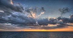 A ship passing thru Skagerak (Vest der ute) Tags: xt2 sky clouds ship water sea cloudscape sunset waves fav25 fav200