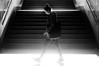 Morning . . . (marcin baran) Tags: bw bnw black blackwhite blackandwhite monochrome woman girl walk walking pov stairs shadow shadows light morning sun sunshine city urban street streetphotography fuji fujifilm x100 x100t fujix100 katowice poland