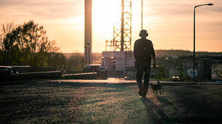 Walking the dog - Turku, Finland - Color street photography
