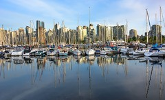 Coal harbour reflections (Christie : Colour & Light Collection) Tags: sailboats boats mooring moored masts vancouver skyline harbour reflections clouds stanleypark stanleyparkseawall bc canada yachts buildings skyscrapers sky downtown outdoors nikon dslr city cityscape waterscape