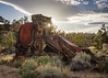 Old Cement Mixer (dwblakey) Tags: sunburst ladwp bishop monocounty evening junk gorgeroad california owensrivergorge abandoned outside easternsierra owensriver rusty outdoors cementmixer antique sky history rust unitedstates us
