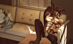 A Hot Summer Afternoon Nap (Krull Darkshine) Tags: aesthetic beast charr sl secondlife woodland county rp roleplay 2018 guidwars2 avatar character warrior legionnaire anthro anthropomorphic ironlegion fantasy muscle relax nap sleep underwear fan sun sofa paw horns claws abs
