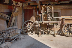 Vintage workshop (enneafive) Tags: ribeauvillé alsace workshop medieval tools light shadow abandonned fujifilm xt2 france wheels wood technic vintage bandsaw