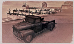 Rusty Pickup On A Beach - Cherishville (ᗷOOᑎᕮ ᗷᒪᗩᑎᑕO) Tags: sl secondlife flickr cherishville landscape sea ocean rusty car truck pickup badunicorn