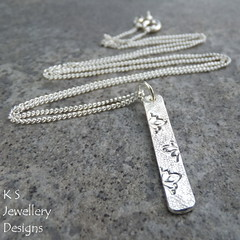Petals Textured Sterling Silver Bar Pendant (KSJewelleryDesigns) Tags: metalwork pendant necklace jewellery jewelry handmade brightsilver shine sterlingsilver silverjewellery handcrafted silver silverwire metal hammered shiny polished bright soldered soldering brushed petals sawing piercing metalsmith metalsmithing silversmith silversmithing
