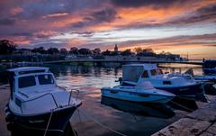Kroatien Zadar (franciscobarongarcia) Tags: sony a7 blue water sky sunset ship harbour nature bridge church iglesia aqua orange yellow