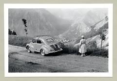 "Renault 4 CV (Vintage Cars & People) Tags: vintage classic black white ""blackwhite"" sw photo foto photography automobile car cars motor lady woman fashion dress floraldress summerdress fifties renault 4cv renault4cv quatrechevaux 1950s lalpedevénosc lacduchambon chambon alps alpi alpen holidays vacances ferien urlaub"