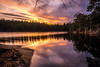 Forest lake sunset (Jens Haggren) Tags: sunset forestlake lake evening sky clouds colours trees water reflections longexposure le nacka sweden olympus em1 jenshaggren