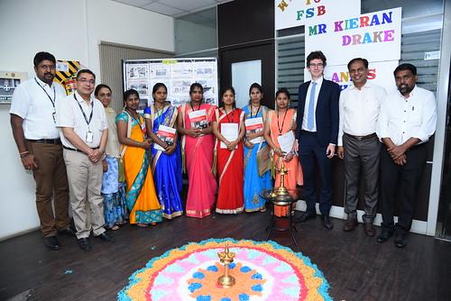 Kieran Drake at garment factory in Bengaluru