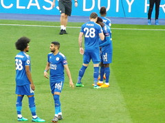 Leicester players pre kick off (lcfcian1) Tags: leicester city lcfc afc arsenal king power stadium football sport epl bpl leicestercity arsenalfc leicestervarsenal kingpowerstadium premier league premierleague stadia 31 9518 leicestercity31arsenal9518 riyadmahrez