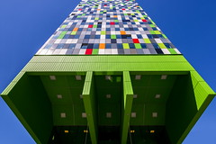 Floating Casa (Maerten Prins) Tags: netherlands nederland utrecht uithof campus universiteit university student residence modern building casaconfetti lamps lights angles windows glass reflection lookingup green verygreen symmetry geometry lines color colors colour colours colorful blue sky