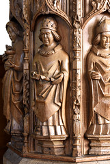 Trull, Somerset, All Saints', pulpit, detail (groenling) Tags: trull somerset england britain greatbritain uk gb allsaints pulpit wood carving woodcarving saint doctor doctorecclesiae gregory gregorius pope tiara