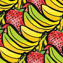 seamless pattern of strawberries and bananas (Hebstreits) Tags: abstract art background banana bananas card design dessert diet drawing exotic fabric food fresh fruit fruits green hand health healthy illustration isolated juicy natural nature organic pattern pear red repeat ripe seamless season strawberry summer sweet tasty texture top tropical vector vegan vegetarian view vitamin wallpaper watercolor white yellow