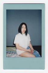 (Hem.Odd) Tags: portrait instaxmini90 instant girl sitting fujifilm skyblue