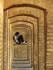 33 Arches Bridge (RobertLx) Tags: wall brick bridge people man boy golden iran asia middleeast isfahan building construction architecture dailylife lines arch vertical repetition city