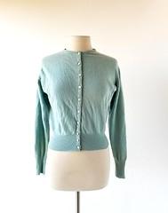 1950s Hadley light blue cashmere cardigan (Small Earth Vintage) Tags: smallearthvintage vintagefashion vintageclothing cardigan sweater 1950s 50s cashmere lightblue hadley