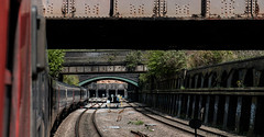 Under bridges (Peter Leigh50) Tags: hst high speed train east midland trains leicester railway railroad urban cutting bridge brick wall track rail fujifilm fuji xt2