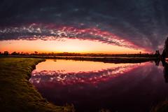 rainbow sunset (damianmkv) Tags: sunset nikon105fisheye papercourtmeadows newarkpriory riverwey landscape surrey uwa
