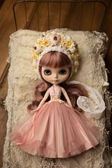 Special Dress... (Trio Blythe) Tags: blythe custom mayyeo handmade dress frock gown hautecouture trio triobythe trioforblythe halter embroidered handembroidery flowerbonnet trioflowerbomb flowers floral