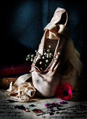 Ballet Slippers (Jazpix) Tags: balletslippers enpointe sheetmusic cartepostale lace ribbons petals texture gypsophilia flowers oldbooks books ballet balletshoes ranunculus