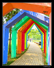 colorful artificial gate (harrypwt) Tags: harrypwt jakarta indonesia city canons95 s95 interesting composition colorful people