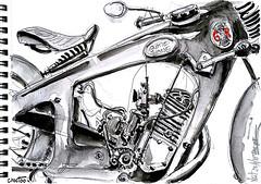 Un belle Gnome et Rhône au salon Vintage à Niort (Croctoo) Tags: croctoo croctoofr croquis crayon sketch mécanique mecanique motoancienne moto aquarelle watercolor