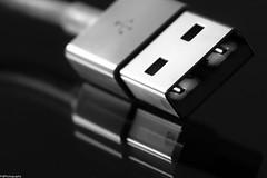 USB (fhenkemeyer) Tags: macromondays hmm usb apple macro plugsandjacks niksilverefexpro2 bw reflection plug