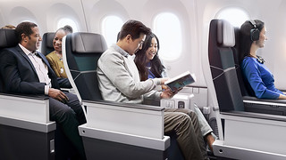 West Jet - premium economy relaxing