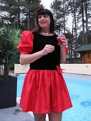 Cheers! (Paula Satijn) Tags: girl hot sexy red skirt dress miniskirt tgirl gurl lady garden pool outside happy fun joy sensual sweet cute girly feminine stockings fishnet drink tranny transvestite smile
