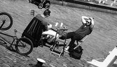 cafe on the canal 03 (byronv2) Tags: cafe canal thecounter blackandwhite blackwhite bw monochrome peoplewatching candid street spring sunny sunshine sunlight sitting seated coffee sunbathing relaxing viewforth tollcross fountainbridge unioncanal towpath people sit