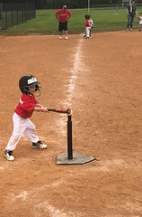 """Give that boy, one  1/2  of a chance, and he will """"POW"""" that ball, clear to the fence...... (~ Cindy~) Tags: teeballtimeintennessee caleb kingston grandson batterup age4 youngboy child league youth hff team pow"""