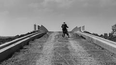 Farmer on the road (BramVlerick) Tags: black white blackwhite bridge farmer bike hike road bellem aalter alpha6000 a6000 sony