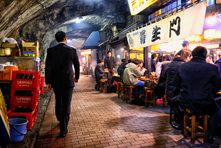 Cafe under the tracks in Tokyo, Japan
