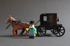 Amish Buggy (sponki25) Tags: amish buggy horse drawn carriage black lego moc