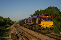 Maroon Marauder (Sweeting Thorns) Tags: class 66 shed 66003 diesel train engine locomotive freight emd ews db schenker cargo uk maroon gold livery sun sunlight pages medge hall level crossing north lincolnshire blue sky 6h79 immingham drax biomass waggon rail railway