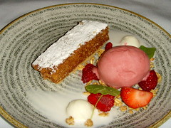 Treacle Tart with Ice Cream and Raspberry Sorbet (Tony Worrall) Tags: add tag ©2018tonyworrall images photos photograff things uk england food foodie grub eat eaten taste tasty cook cooked iatethis foodporn foodpictures picturesoffood dish dishes menu plate plated made ingrediants nice flavour foodophile x yummy make tasted meal nutritional freshtaste foodstuff cuisine nourishment nutriments provisions ration refreshment store sustenance fare foodstuffs meals snacks bites chow cookery diet eatable fodder treacle tart with ice cream raspberry sorbet sweet fruit sugar dessert pudding