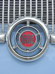 An intensive grilling (Couldn't Call It Unexpected) Tags: fiat 600 logo grille mesh pale blue