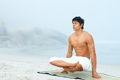 Yoga is good for men, too. (yogirajgurunathsiddhanath) Tags: man background people white blue beach young men male sky isolated sea modern person life portrait care legs eyes ocean sand adult guy human one space natural yoga healthy fresh outside wellness bright handsome peace coast closed caucasian spiritual relaxed crossed mat shirtless meditation calm copy peaceful masculine position copyspace