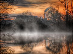 """industry and Nature (andystones64) Tags: """"british steel"""" industry industrial silhouette ashbyville nature reserve naturephotography pond water mist morning outside outdoor countryside scunthorpe lincolnshire northlincolnshire northlincs nlincs trees sunrise dawn reflection"""